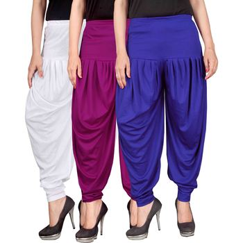White purple blue stirped combo pack of 3 free size harem pants