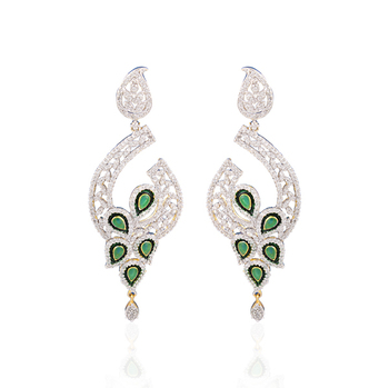 Dazzling Gold plated american diamond earrings