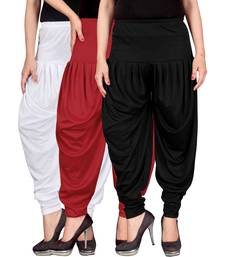 Buy White red black stirped combo pack of 3 free size harem pants harem-pant online