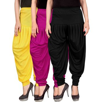 Yellow pink black stirped combo pack of 3 free size harem pants