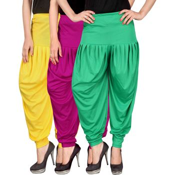 Yellow pink green stirped combo pack of 3 free size harem pants