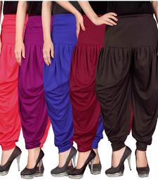Pink purple blue maroon brown stirped combo pack of 5 free size harem pants