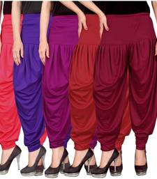 Buy Pink blue purple red maroon stirped combo pack of 5 free size harem pants women-ethnic-wear online