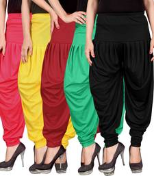 Pink yellow red green black stirped combo pack of 5 free size harem pants