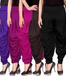 Buy Blue purple pink brown black stirped combo pack of 5 free size harem pants harem-pant online