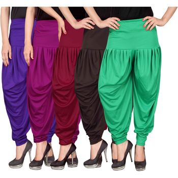 Blue purple maroon brown green stirped combo pack of 5 free size harem pants