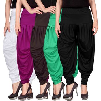 White purple brown green black stirped combo pack of 5 free size harem pants