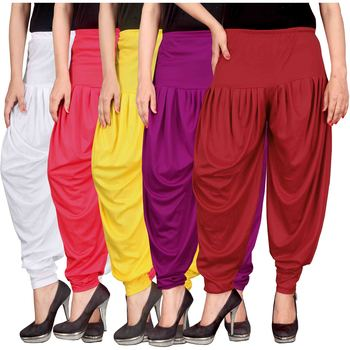 White pink yellow purple red stirped combo pack of 5 free size harem pants