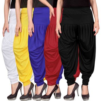 White yellow blue red black stirped combo pack of 5 free size harem pants