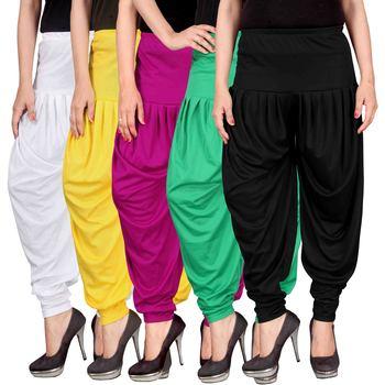White yellow pink green black stirped combo pack of 5 free size harem pants