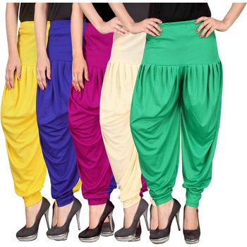 Yellow blue pink cream green stirped combo pack of 5 free size harem pants