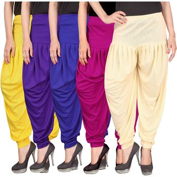 Yellow blue pink cream stirped combo pack of 5 free size harem pants