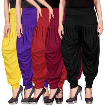 Yellow blue red maroon black stirped combo pack of 5 free size harem pants