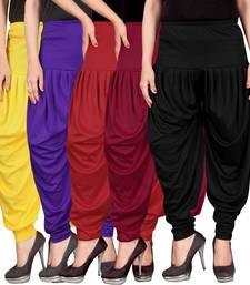 Yellow blue red maroon black stirped combo pack of 5 free size harem pants harem-pant