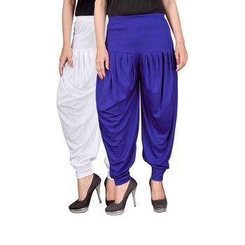 White blue stirped combo pack of 2 free size harem pants