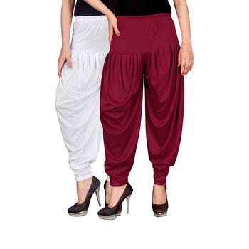 White maroon stirped combo pack of 2 free size harem pants