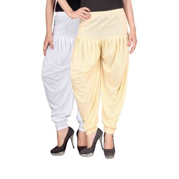 White cream stirped combo pack of 2 free size harem pants