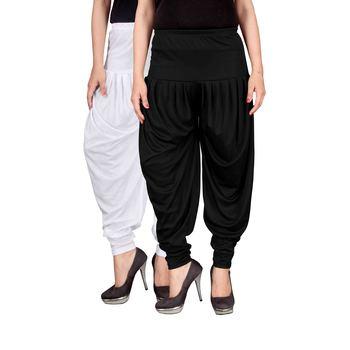 White black stirped combo pack of 2 free size harem pants