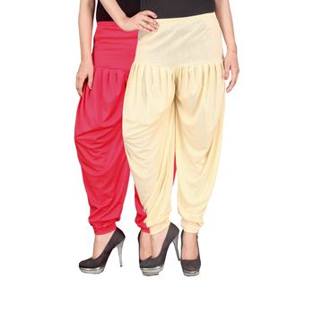 Pink cream stirped combo pack of 2 free size harem pants