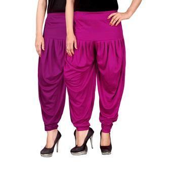 Purple pink stirped combo pack of 2 free size harem pants