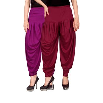 Purple maroon stirped combo pack of 2 free size harem pants