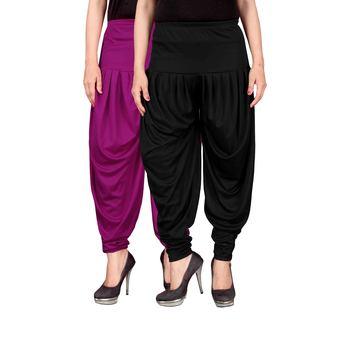 Purple black stirped combo pack of 2 free size harem pants
