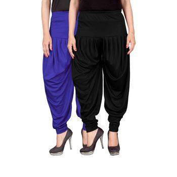Blue black stirped combo pack of 2 free size harem pants
