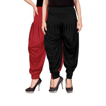 Red black stirped combo pack of 2 free size harem pants