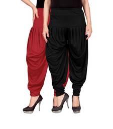 Buy Red black stirped combo pack of 2 free size harem pants harem-pant online