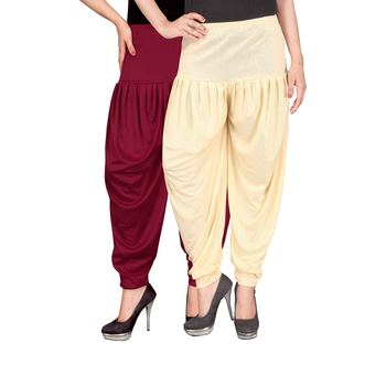 Maroon cream stirped combo pack of 2 free size harem pants