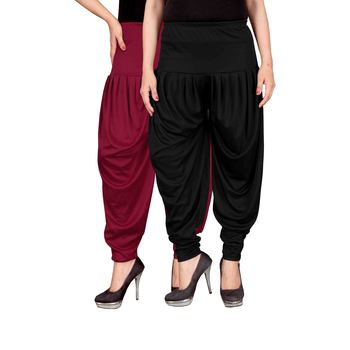 Maroon black stirped combo pack of 2 free size harem pants