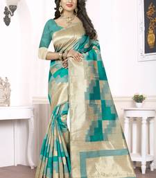 Buy Sea green woven banarasi silk saree with blouse banarasi-silk-saree online