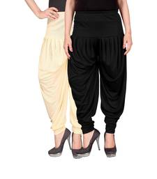 Cream black stirped combo pack of 2 free size harem pants