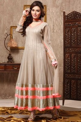 Gold with Pastel Latest Net Anarkali Suit with Pastel Color Dupatta