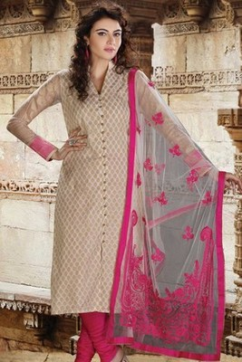 Cream Brocade Indo-western with Red Applique worked Dupatta