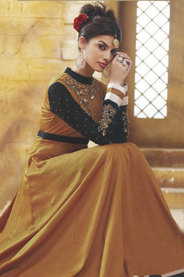 Exclusive Gold Flared Anarkali with unique thread & stone worked yoke
