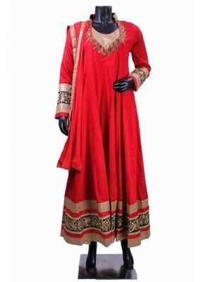 Red Trendy Anarkali Salwar Kameez with Heavy Border