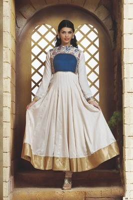 Beautiful White Cotton Anarkali with Blue cotton & White Jamavar Yoke