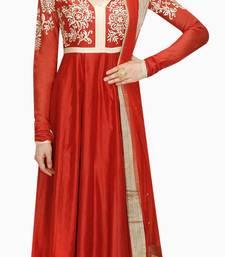 Buy Red embroidered silk salwar with dupatta salwar-kameez online