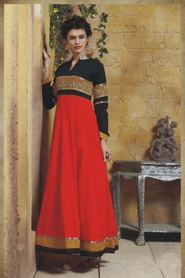 Red with Black Pure Trendy Anarkali Salwar Kameez red