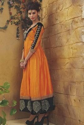 Beautiful Orange & Black Anarkali with unique Khardana Work on sleeves