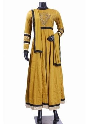 Mustard Color Latest Trendy Anarkali Suit with Heavy Yoke  mustard