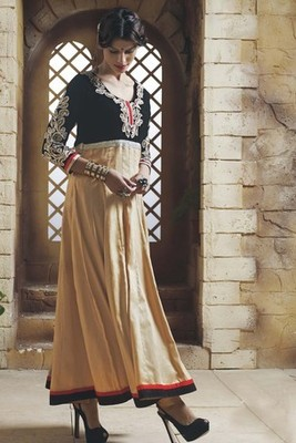Beige Pure New Trendy Anarkali Suit with Heavy Sleeves