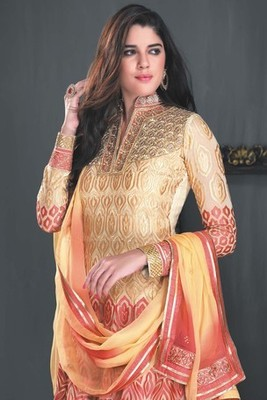 Dual combo of gold & pink anarkali with chinese collar of gold & pink