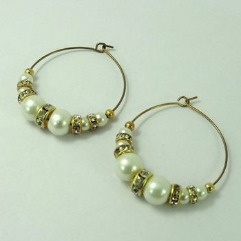 White Pearls and Silver Crystal Studded Bali Earrings