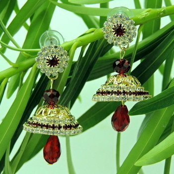 Red and Silver Crystal Studded Mee0 Earrings