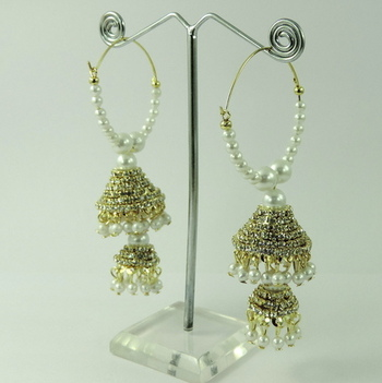 Bali Shape Peals and Crystal Studded Earrings