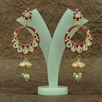 Traditio0l Rajasthani Rani Mee0 kundan Earrings