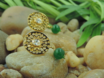 Indian Designer AD Oval Shape Green Fashion Earrings