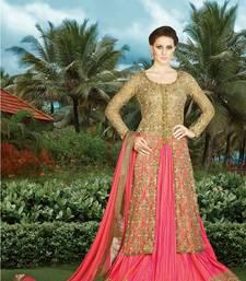 Buy Beige embroidered net salwar with dupatta abaya-suit online